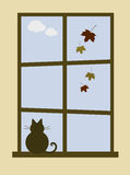 Cozy October. Vector illustration of a cat looking out of the window vector illustration