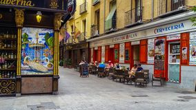 Cozy old street in central Madrid Stock Photo