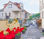 Cozy outdoor cafe in Tbilisi royalty free stock photos