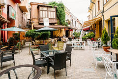 Cozy Outdoor Cafes In The Narrow Streets Of Old Town stock image
