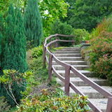 Cozy park with stairs Royalty Free Stock Images