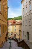 Cozy pedestrian street in Prague, Czech Republic Stock Photo
