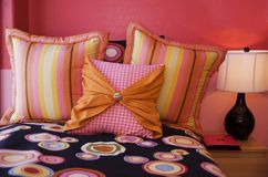 Cozy Pink Bedroom. With Fashionable Bedding Royalty Free Stock Photo