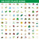 100 cozy place icons set, cartoon style. 100 cozy place icons set in cartoon style for any design vector illustration Stock Photo