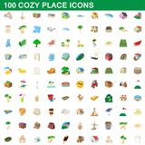 100 cozy place icons set, cartoon style. 100 cozy place icons set in cartoon style for any design illustration vector illustration