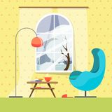 A cozy place in the reading room with a stylish armchair, a lamp and a small book table with books and a hot cup of coffee or tea. royalty free illustration