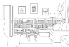Cozy Reading Room Outline and Sketch Vector Illustration. For many purpose such as  architecture and interior book, magazine, website, blog and other print Royalty Free Illustration