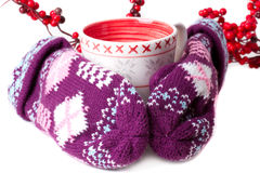 Cozy red gloves hold a mug Royalty Free Stock Image