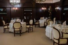 A cozy restaurant, interior in brawn royalty free stock photo