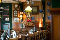 Cozy Restaurant New Year decoration Royalty Free Stock Image