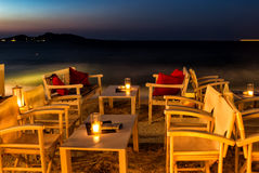 Cozy restaurant at night in Naussa, Paros Royalty Free Stock Photography