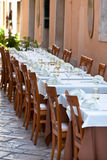 Cozy Restaurant tables ready for service Royalty Free Stock Photos