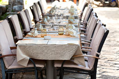 Cozy Restaurant tables ready for service Stock Photos
