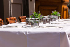 Cozy Restaurant tables ready for service Stock Image