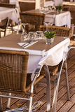 Cozy Restaurant tables ready for service Stock Photography