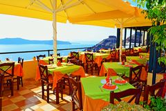 Spectacular views restaurant terrace Santorini island Stock Photography
