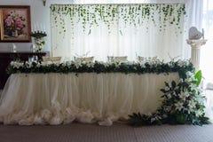 A cozy restaurant, wedding table stock image