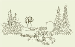 A cozy rocking chair in a flowering garden. Vector image. A cozy rocking chair near a table with flowers in a flowering garden stock illustration