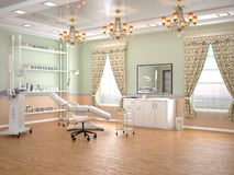 Cozy room with equipment in the clinic of dermatology and cosmetology. 3d illustration royalty free illustration