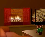 A cozy room with a fire in the fireplace.  Royalty Free Stock Images
