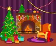 A cozy room with a fireplace, decorated with a Christmas tree and an armchair for Christmas in the style of a flat with bright flo royalty free illustration