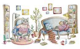 Cozy room interior with cats and furniture. Cute cartoon characters. Hand drawn illustration painted with color pencils Royalty Free Stock Images