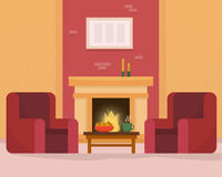 Cozy room interior with fireplace. Flat style vector illustration Royalty Free Stock Photos