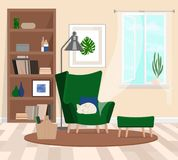 A cozy room with a large green armchair in which the cat sleeps. Open window. The atmosphere of the huggie. Vector flat. Vector illustration. Painted in shape stock illustration