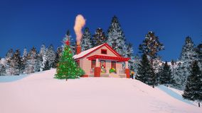 Cozy rural house decorated for Christmas Stock Photos