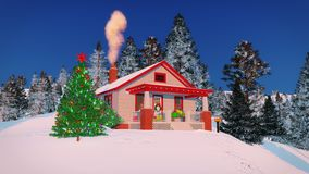 Cozy rustic house decorated for Christmas Royalty Free Stock Photography