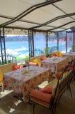 Cozy seaside restaurant panorama Stock Image