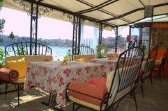 Cozy seaside restaurant panorama,Sozopol Royalty Free Stock Photo