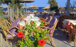 Cozy seaside restaurant ,Santorini,Greece Stock Photography
