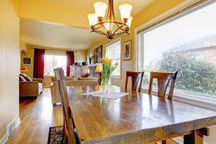 Cozy small dining room. View of the living room Stock Photo