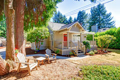 Cozy small house with outdoor rest area Stock Images
