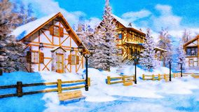 Snow covered village at winter day in watercolor. Cozy snow covered alpine village high in mountains with traditional european half-timbered houses at sunny royalty free stock images