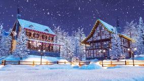 Cozy snow covered village at snowfall winter night royalty free illustration
