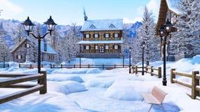 Cozy snowbound alpine mountain house at winter day stock illustration
