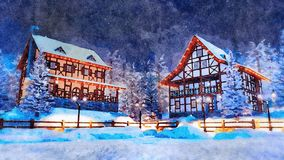 Snowbound european town at winter night watercolor. Cozy snowbound alpine mountain town with traditional european half-timbered houses and christmas lights at royalty free stock photo