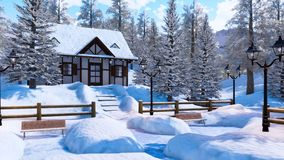 Cozy snowbound alpine mountain house at winter day vector illustration