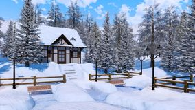 Cozy snowbound alpine mountain house at winter day. Cozy snowbound half-timbered alpine rural house among snow covered fir trees high in snowy mountains at royalty free stock photography