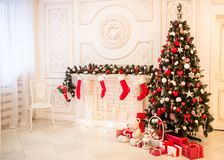 Cozy snowy New Year`s interior Royalty Free Stock Image