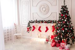 Cozy snowy New Year`s interior Royalty Free Stock Photo