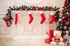 Cozy snowy New Year`s interior Stock Photography