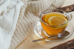 Cozy and soft winter background. Cup of tea and warm knitted sweater. Royalty Free Stock Photo