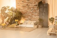Cozy space  for relax. Cozy space for relax in modern living room with home orangery Stock Image