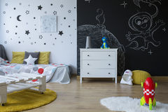 Cozy space-themed room stock image