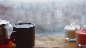 Cozy Still Life. Autumn Weather, Stormy And Raining Outside Window. Cozy Tea. Stock Image