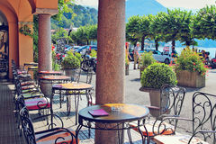 Cozy street cafe in old Bellagio Royalty Free Stock Photo