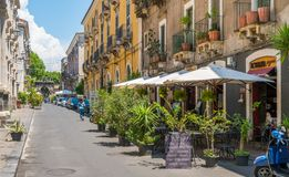 A cozy street in Catania on a summer morning. Sicily, southern Italy. stock photo